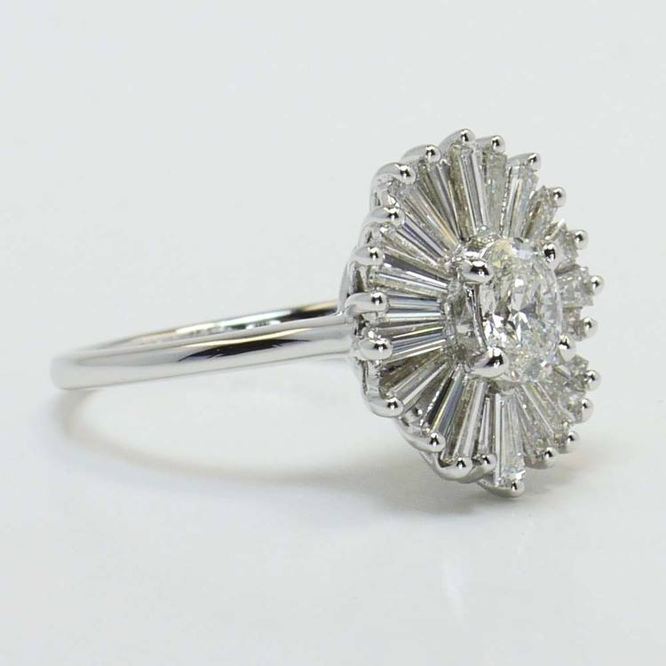 Oval Diamond Art Deco Flower Engagement Ring (0.57 Carat) angle 2