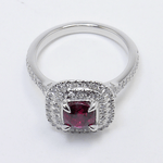 Custom 1 Carat Cushion Ruby Double Halo Engagement Ring - small angle 4