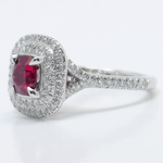 Custom 1 Carat Cushion Ruby Double Halo Engagement Ring - small angle 2