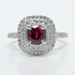 Custom 1 Carat Cushion Ruby Double Halo Engagement Ring - small
