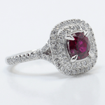 Custom 1 Carat Cushion Ruby Double Halo Engagement Ring - small angle 3
