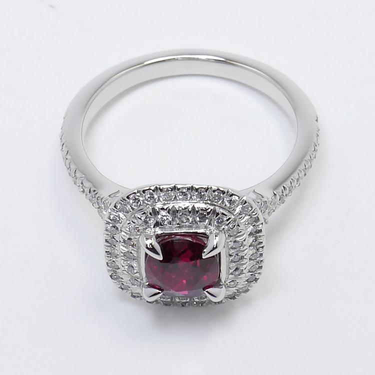 Custom 1 Carat Cushion Ruby Double Halo Engagement Ring angle 4
