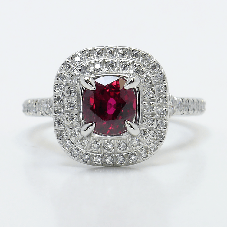 Custom 1 Carat Cushion Ruby Double Halo Engagement Ring