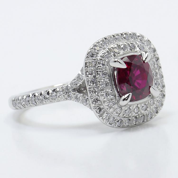 Custom 1 Carat Cushion Ruby Double Halo Engagement Ring angle 3