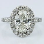 French Cut Pave Halo Ring with Claw Prongs (1.70 ct.) - small