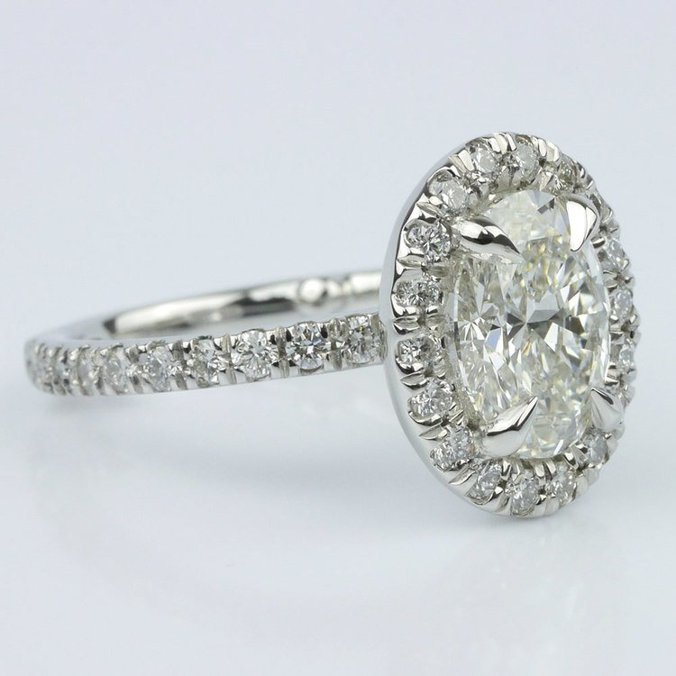 French Cut Pave Halo Ring with Claw Prongs (1.70 ct.) angle 3