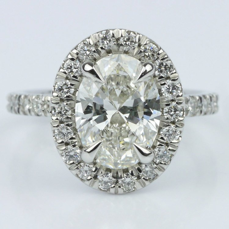French Cut Pave Halo Ring with Claw Prongs (1.70 ct.)