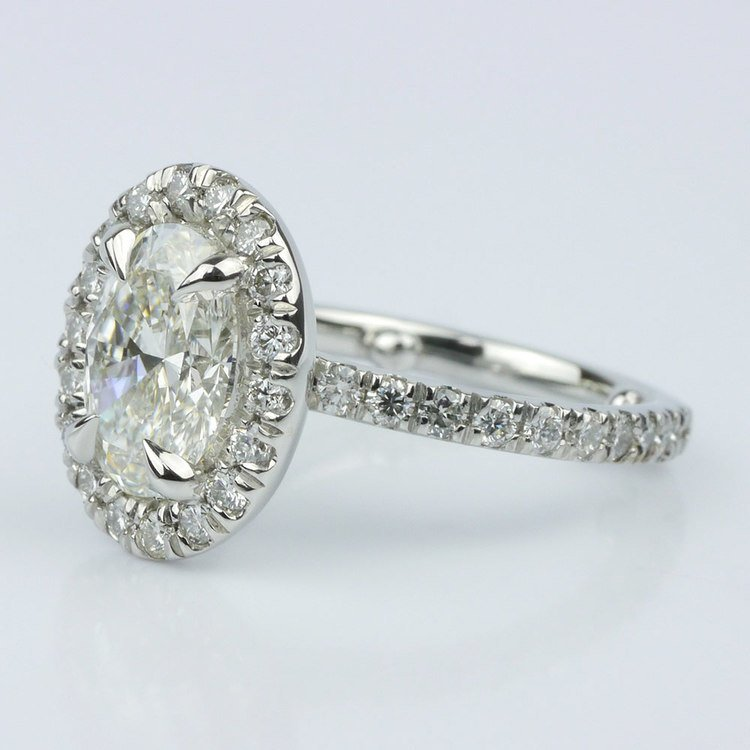 French Cut Pave Halo Ring with Claw Prongs (1.70 ct.) angle 2