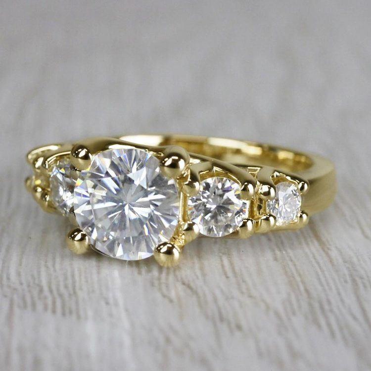 Glamorous Five Stone Moissanite Diamond Engagement Ring angle 2