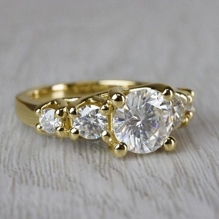 Glamorous Five Stone Moissanite Diamond Engagement Ring angle 3
