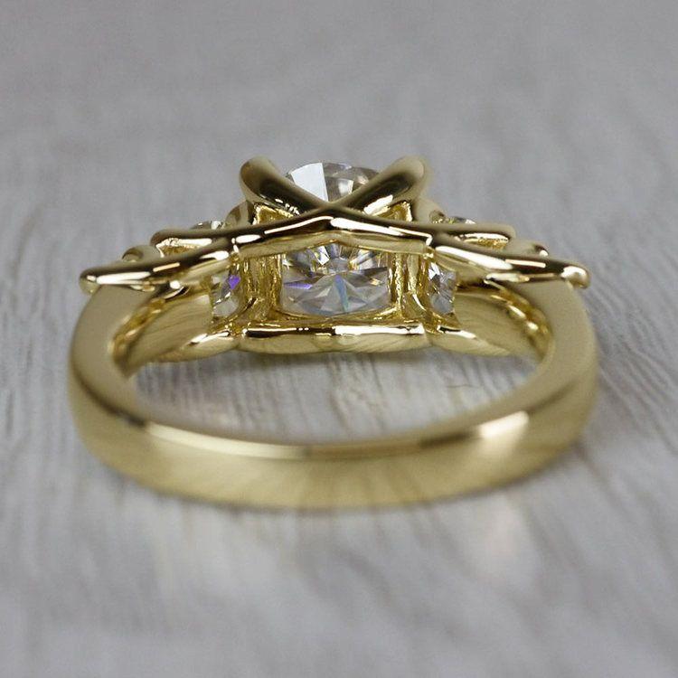 Glamorous Five Stone Moissanite Diamond Engagement Ring angle 4