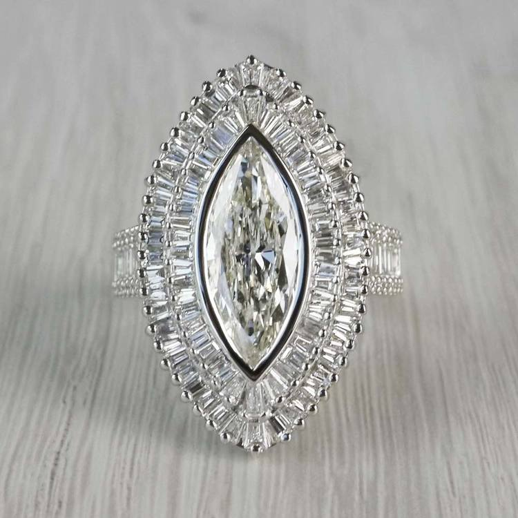 Glamour Antique Marquise Cut & Baguette Diamond Ring