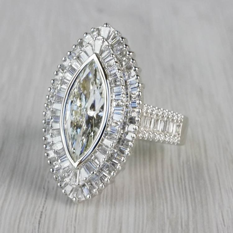 Glamour Antique Marquise Cut & Baguette Diamond Ring angle 2
