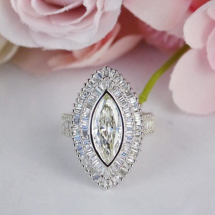 Glamour Antique Marquise Cut & Baguette Diamond Ring angle 5