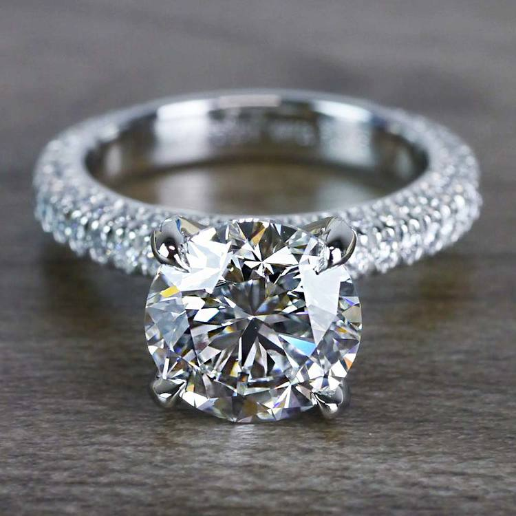 Average Cost Of Engagement Ring: Gleaming Pave Setting 3 Carat Diamond Ring