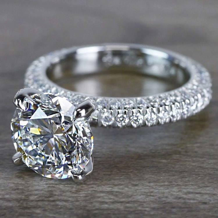 Gleaming Pave Setting 3 Carat Diamond Ring angle 2