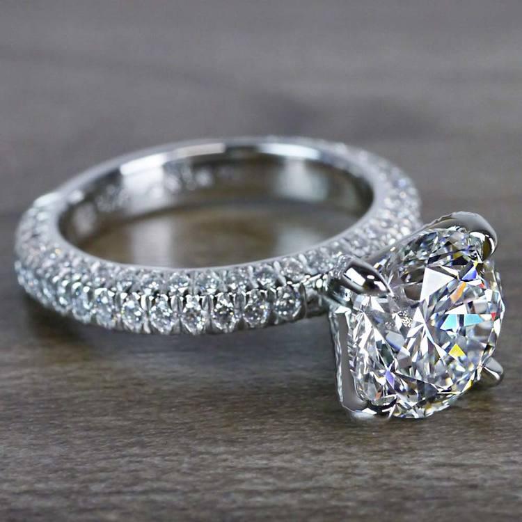 Gleaming Pave Setting 3 Carat Diamond Ring angle 3