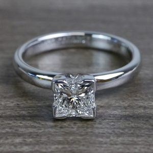 Grand Princess Cut Diamond Solitaire Engagement Ring