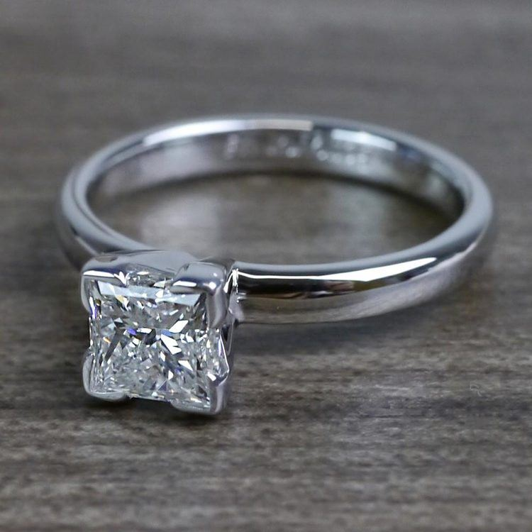 Grand Princess Cut Diamond Solitaire Engagement Ring angle 2