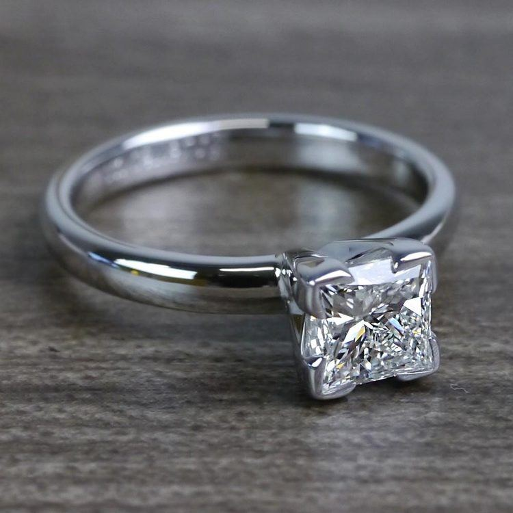 Grand Princess Cut Diamond Solitaire Engagement Ring angle 3