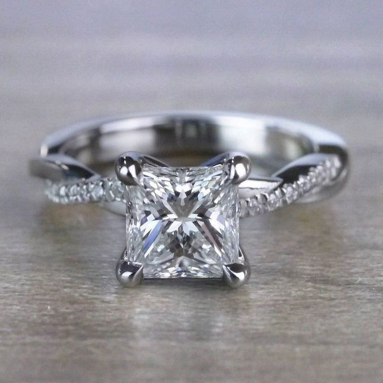 Grand Princess Cut Diamond Twisted Vine Engagement Ring