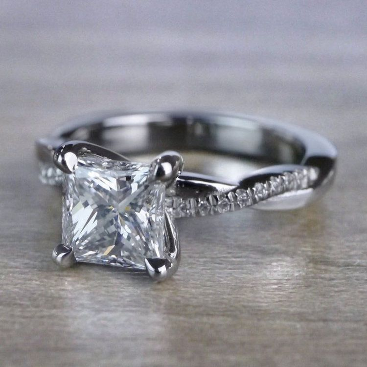 Grand Princess Cut Diamond Twisted Vine Engagement Ring angle 2