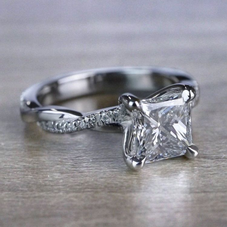 Grand Princess Cut Diamond Twisted Vine Engagement Ring angle 3