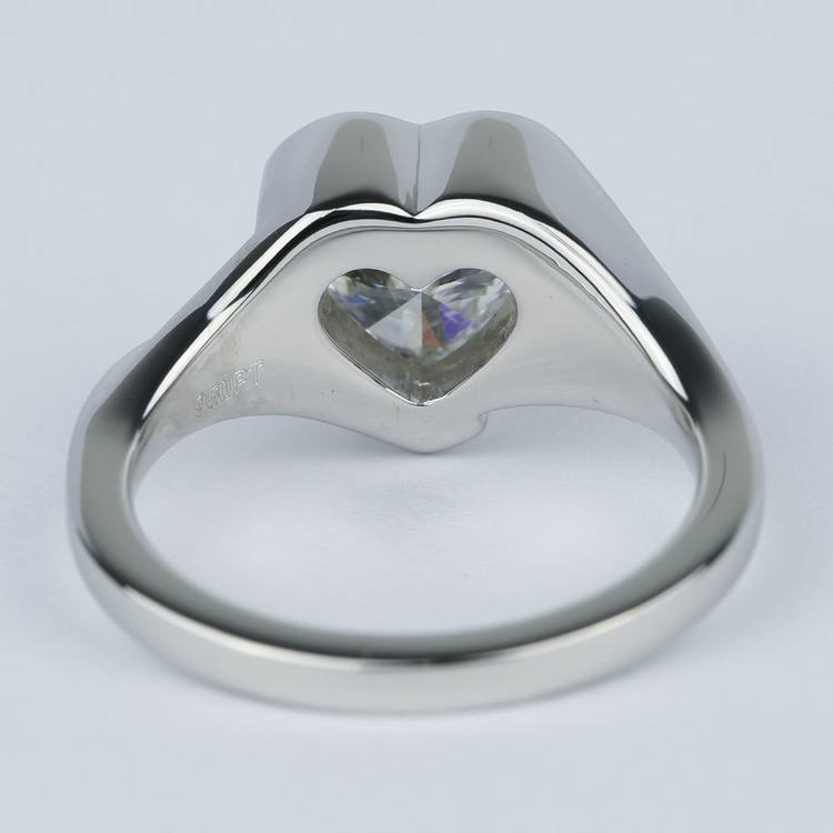 Solitaire Heart Diamond Engagement Ring in Half Bezel angle 4