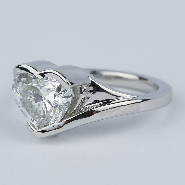 Solitaire Heart Diamond Engagement Ring in Half Bezel angle 2