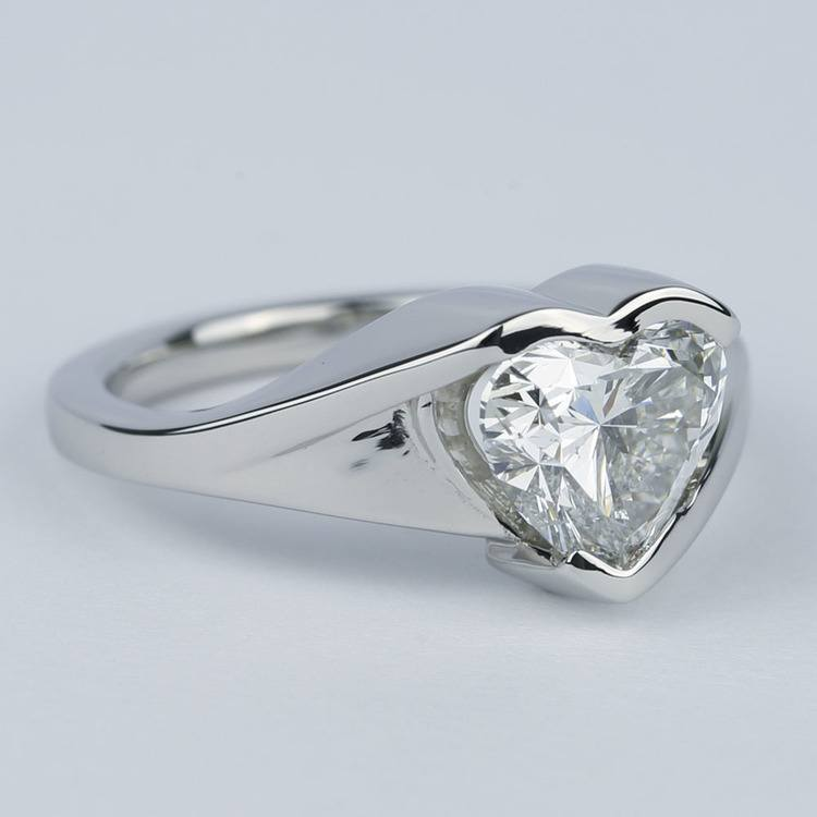 Solitaire Heart Diamond Engagement Ring in Half Bezel angle 3