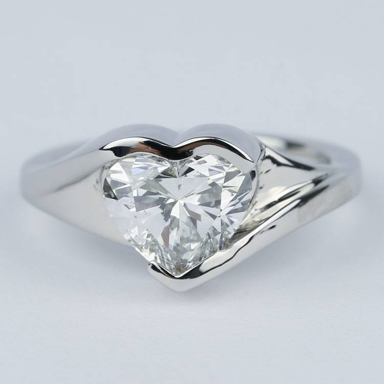 Solitaire Heart Diamond Engagement Ring in Half Bezel