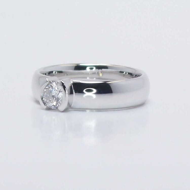 Bezel Round Flawless Diamond Engagement Ring (0.40 ct.) angle 3