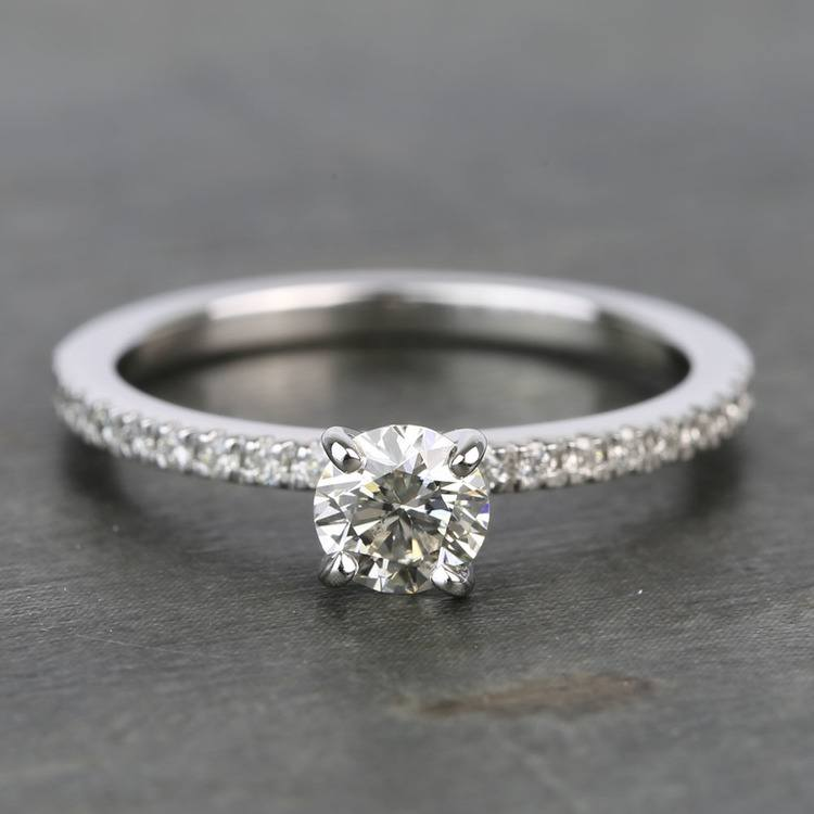 Half Carat Petite Pave Round Diamond Engagement Ring