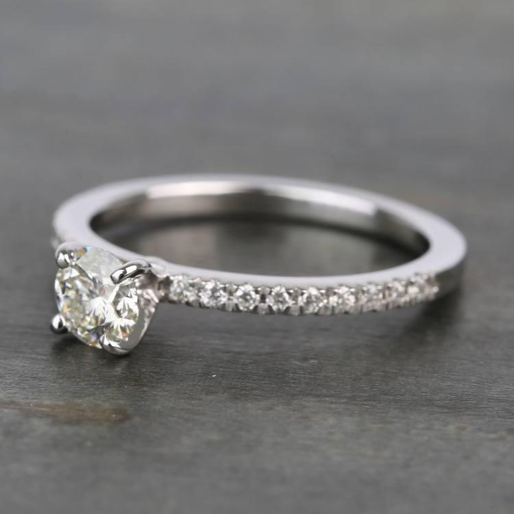 Half Carat Petite Pave Round Diamond Engagement Ring angle 2