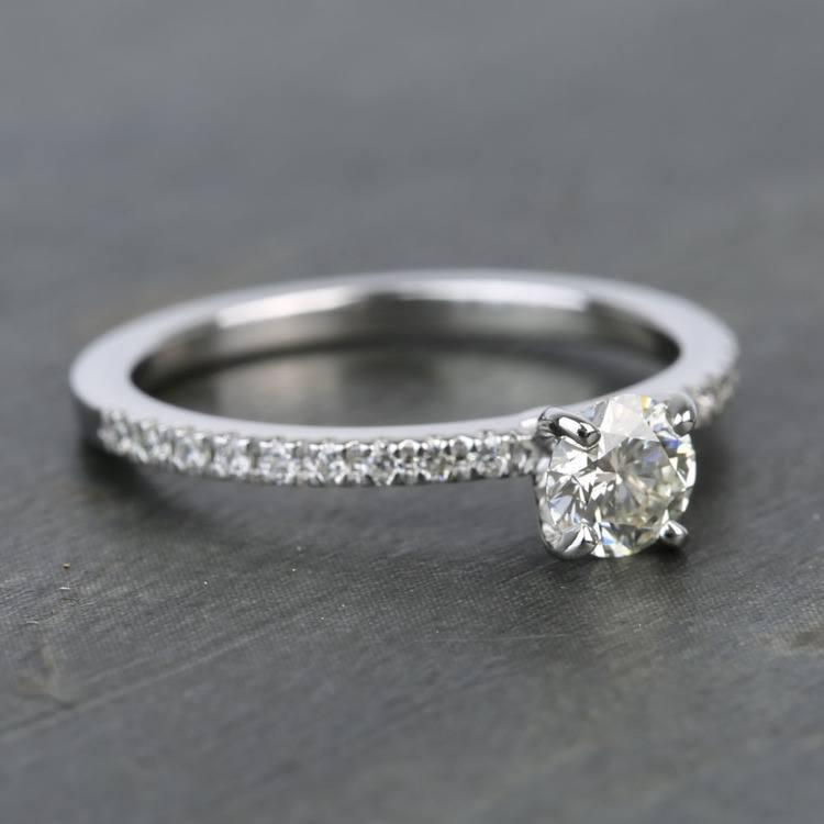 Half Carat Petite Pave Round Diamond Engagement Ring angle 3