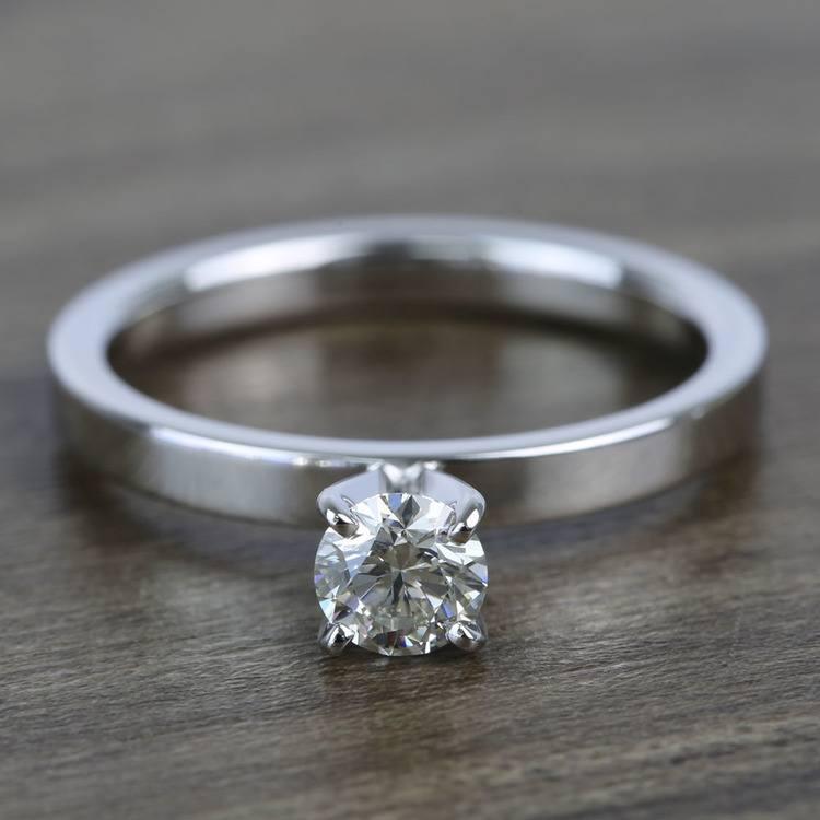 Half-Carat Round Flat Solitaire Diamond Engagement Ring