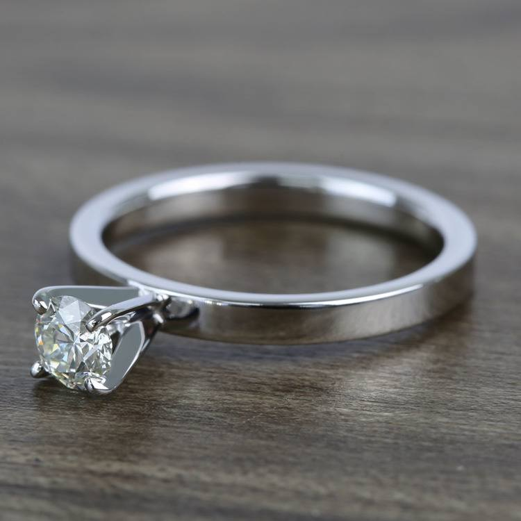 Half-Carat Round Flat Solitaire Diamond Engagement Ring angle 2