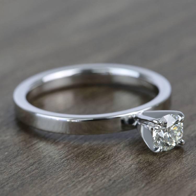 Half-Carat Round Flat Solitaire Diamond Engagement Ring angle 3