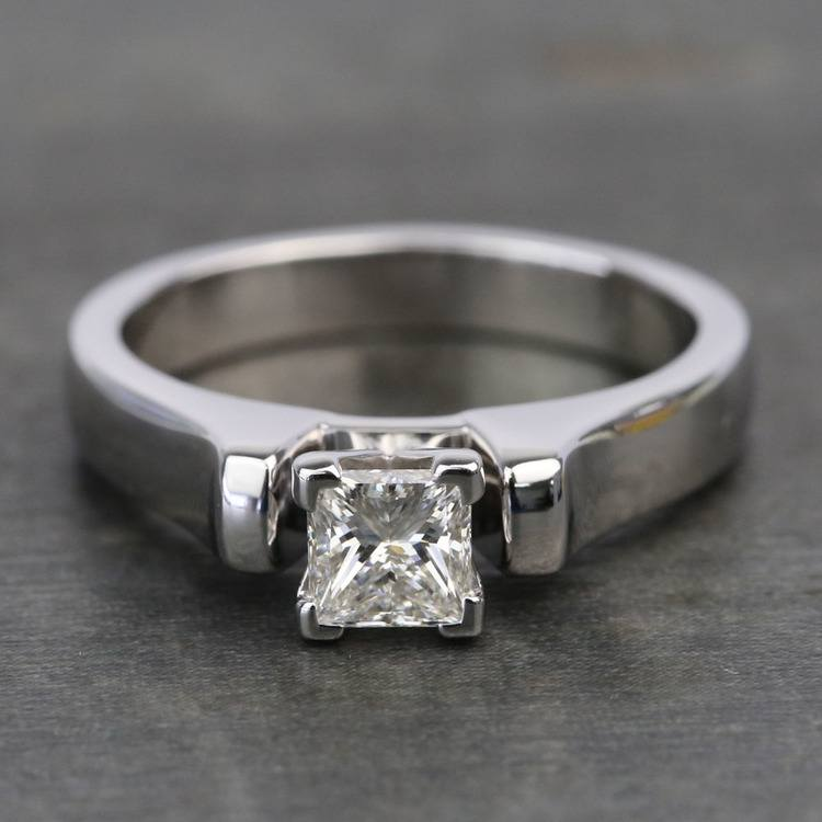 Half-Carat Square Contour Solitaire Princess Diamond Engagement Ring