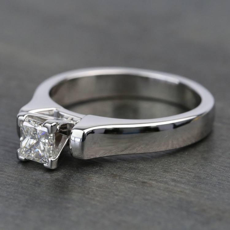 Half-Carat Square Contour Solitaire Princess Diamond Engagement Ring angle 2