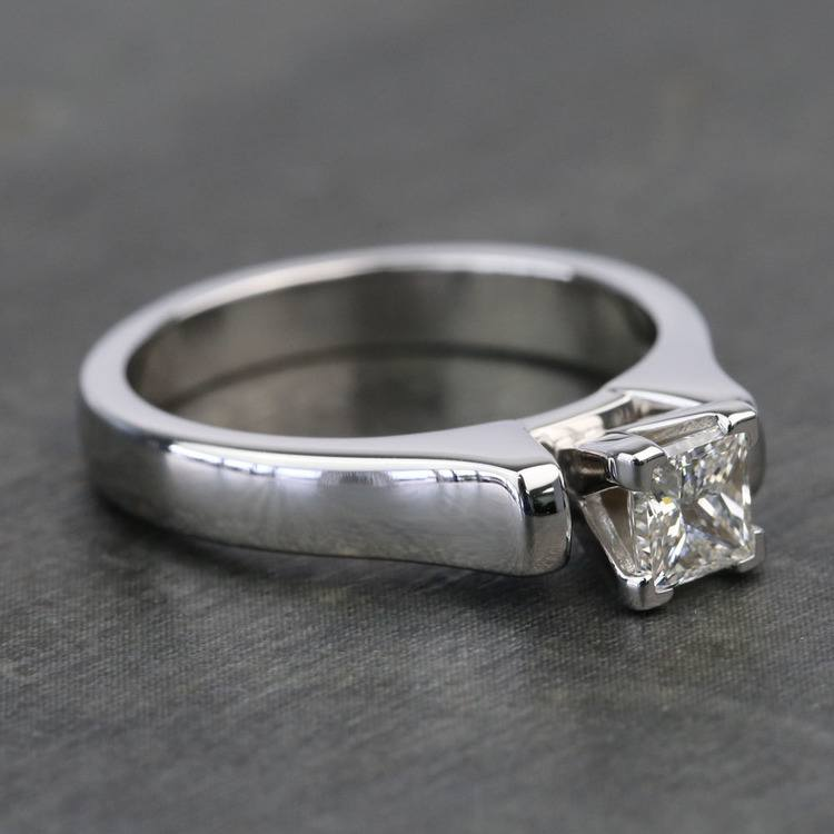Half-Carat Square Contour Solitaire Princess Diamond Engagement Ring angle 3