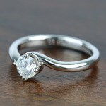 Half Carat Swirl Style Round Solitaire Diamond Engagement Ring - small angle 2