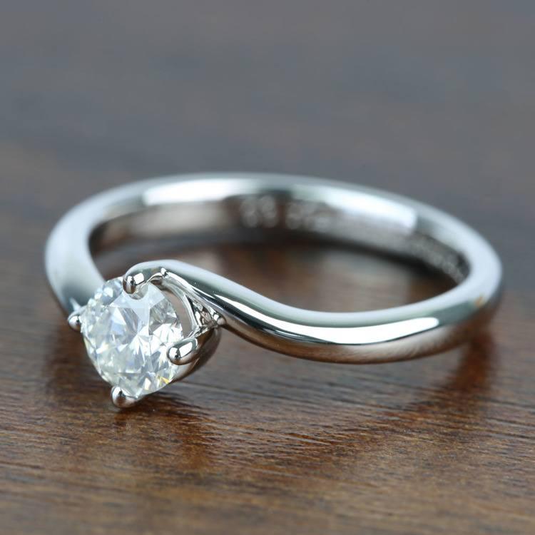 Half Carat Swirl Style Round Solitaire Diamond Engagement Ring angle 2