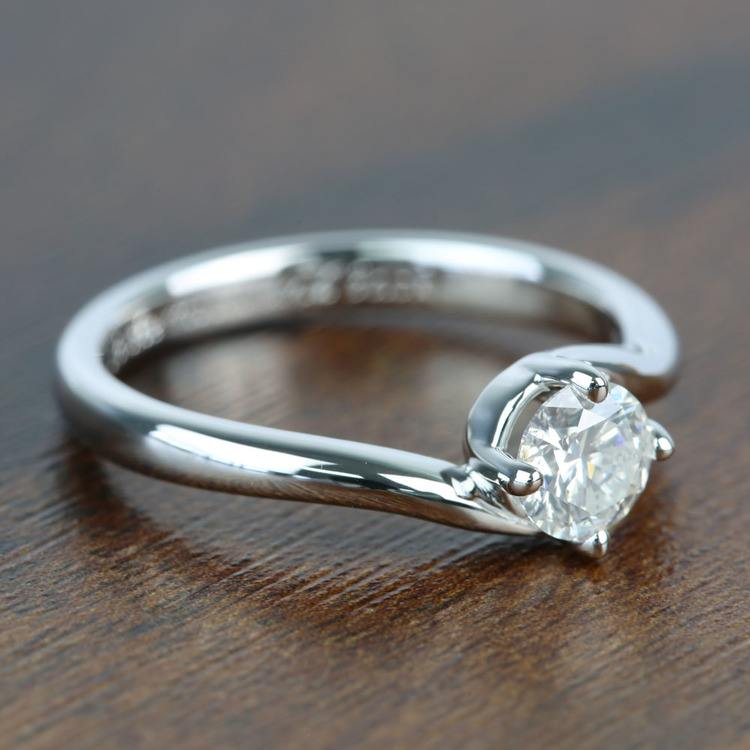 Half Carat Swirl Style Round Solitaire Diamond Engagement Ring angle 3