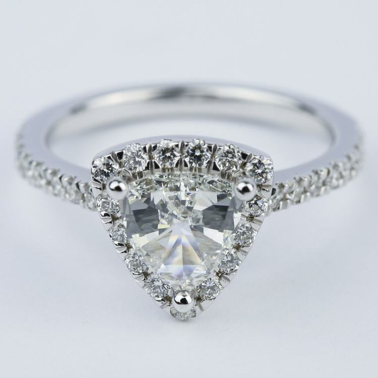 Trillion Diamond Halo Engagement Ring in White Gold