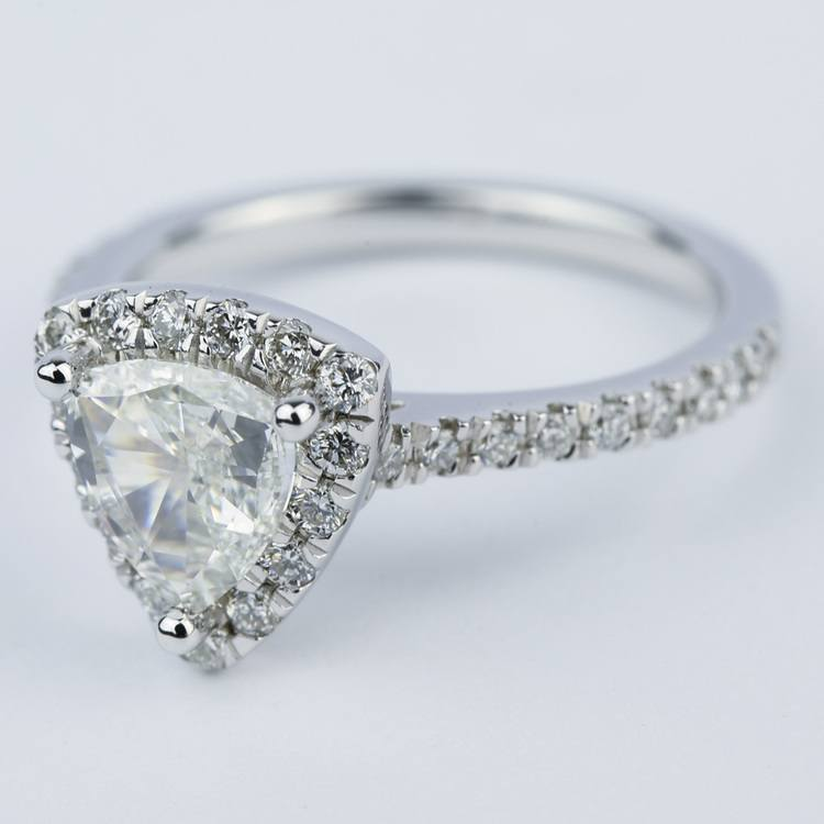 Trillion Diamond Halo Engagement Ring in White Gold angle 2