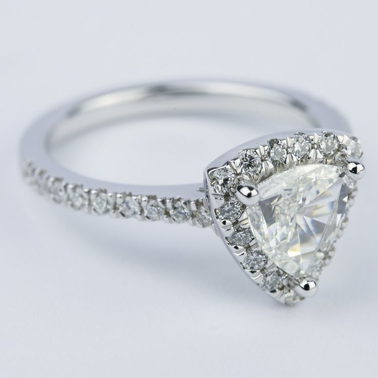 Trillion Diamond Halo Engagement Ring in White Gold angle 3