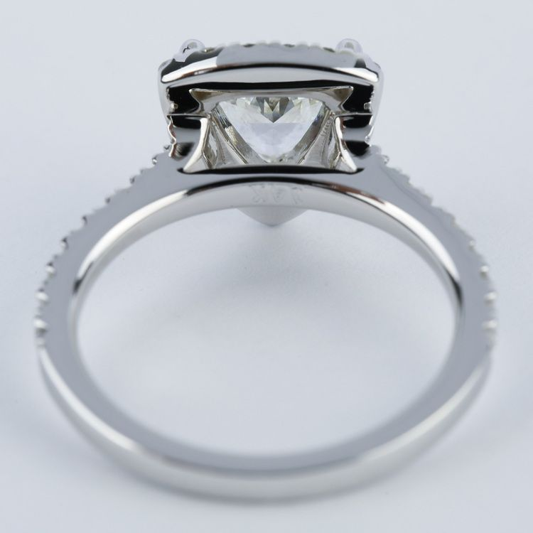 Trillion Diamond Halo Engagement Ring in White Gold angle 4