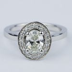 1 Carat Oval Cut Diamond with Halo Ring Setting - small
