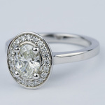 1 Carat Oval Cut Diamond with Halo Ring Setting - small angle 2